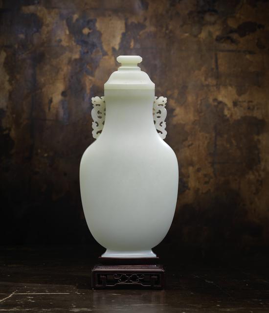 , 'Large Pale Celadon Jade Flattened Baluster Vase and Domed Cover,' Qianlong (1736-95), Rasti Chinese Art