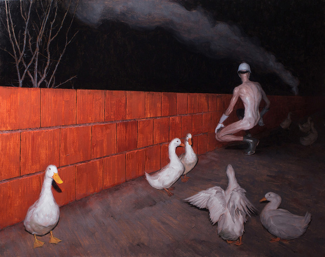 Dragan Bibin, 'Unfinished #9, Red Wall', 2017, Painting, Oil on linen, Laufer