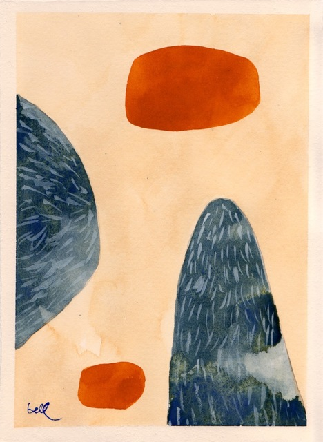 , 'Two Blue Mounds with Yellow Ochre Ellipses #2,' 2012, The Road Gallery