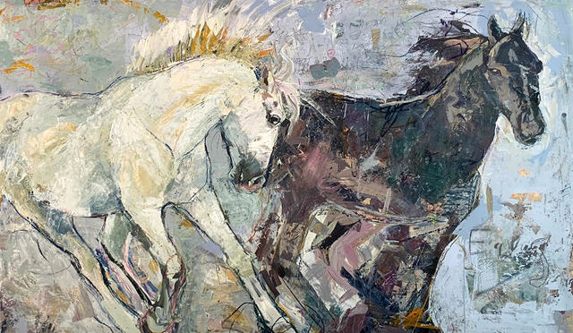 "Jylian Gustlin, '""Equus by Jylian + Dave Gustlin"" Mixed media painting of two horses, one black one white', 2019, Eisenhauer Gallery"