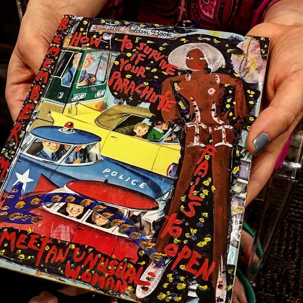 """One of a kind artists book collected at Art Palm Springs 2018 by a young couple from Chicago.  """"How to Survive if Your Parachute Fails to Open Meet An Unusual Woman"""" Non Linear Story by Richard Kurtz • Casein on found vintage children's book. • Esperanza Projects Booth"""