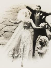 The Wedding Embrace; Wedding Couple with Bridesmaids