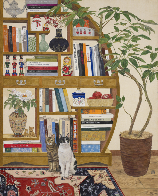 Lee Jung Eun (b. 1971), 'Cats and Bookshelf', 2020, Drawing, Collage or other Work on Paper, Coloring on Korean paper (Jangji) 장지에 채색, Leehwaik Gallery