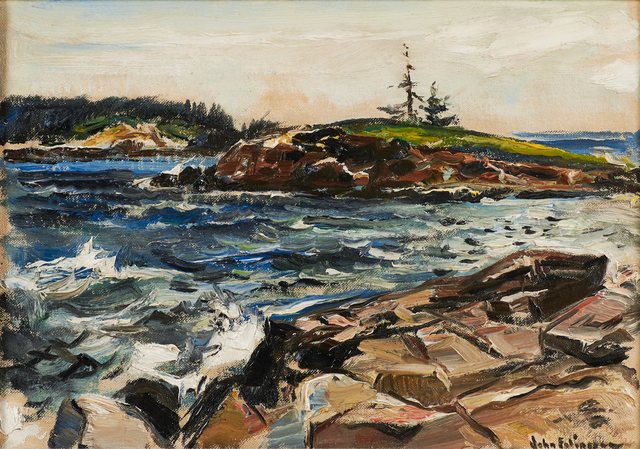 John Fulton Folinsbee, 'Untitled (Maine Shore)', Painting, Oil on canvasboard (period frame), Rago/Wright