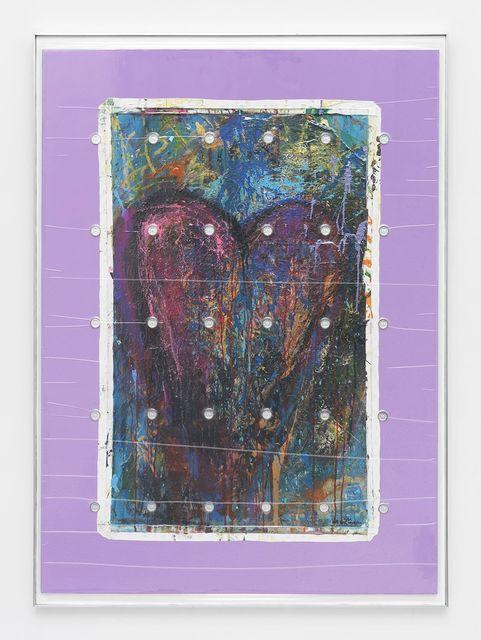 """, 'Bam Margera 'HELSINKI HEART', 2014 (Acrylic on canvas 30 x 50"""") + (30) LEALANA 1LTC Brass Litecoin,' 2015, Feuer/Mesler"""