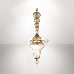 A pendant lamp with a metal and Murano glass structure
