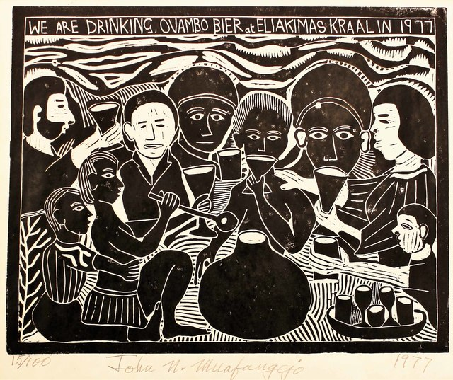 , 'WE are drinking Ovambo Bier at Eliakimas in 1977,' 1977, The South African Print Gallery