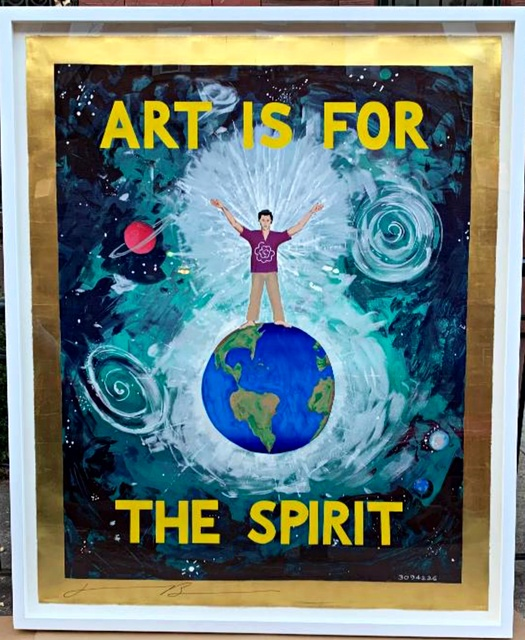 "Jonathan Borofsky, 'Art is for the Spirit', 1989, Print, Large (Six feet High - 72"") Unique silkscreen with gold leaf border. Hand signed. Floated on heavy board and framed., Alpha 137 Gallery"