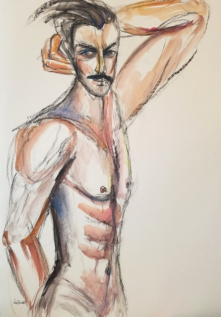 Vian Borchert, 'Come-hither', 2019, Painting, Watercolor and charcoal on paper, bG Gallery