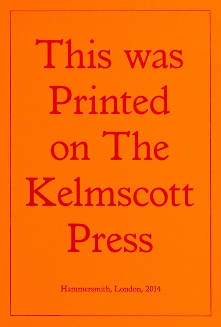 Jeremy Deller, 'Printed on the Kelmscott Press', 2014, Print, Letterpress printed in red ink, Forum Auctions