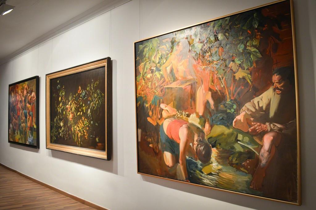 Tibor Csernus - from left to right Harlot's Progress, Nature Morte Fruits dans Panier, La Source
