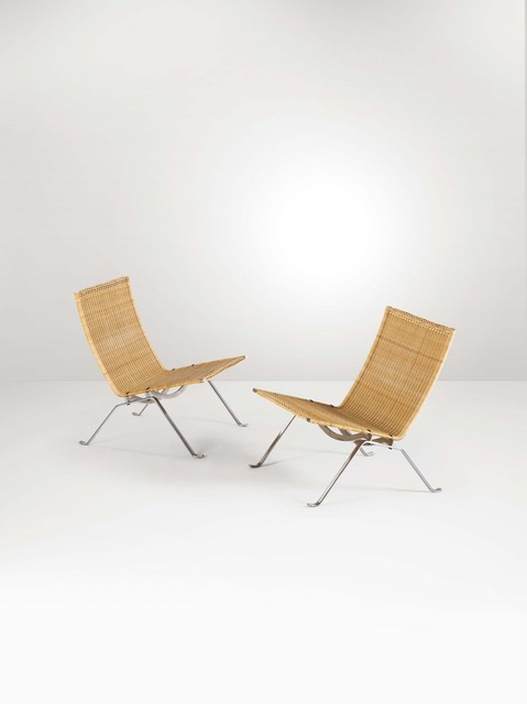 Poul Kjærholm, 'A pair of Pk22 armchairs with a steel structure and rattan pith seats', 1970 ca., Cambi