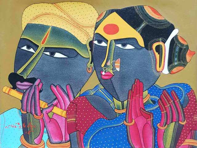 "Thota Vaikuntam, 'Telengana Couple, Acrylic, Charcoal on Paper by Modern Artist ""In Stock""', 2018, Gallery Kolkata"