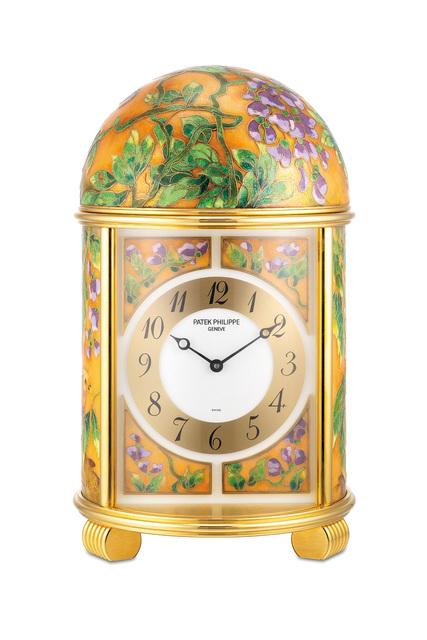 "Patek Philippe, 'An extremely fine and unique gilt brass quartz dome clock with polychrome cloisonné enamel scene ""Golden Pheasants"", with certificate of origin', 2009, Phillips"