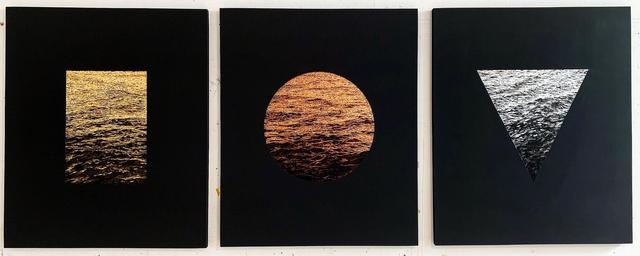 Steven Maciver, 'Aperture (i,ii, iii) ', 2019, Painting, Gold, copper, silver leaf, oil, blackboard paint on panel, Dillon + Lee