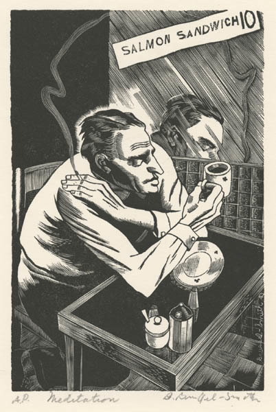 Bernard Brussel-Smith, 'Meditation or Cafeteria Philosopher', 1940, Print, Wood Engraving, Childs Gallery