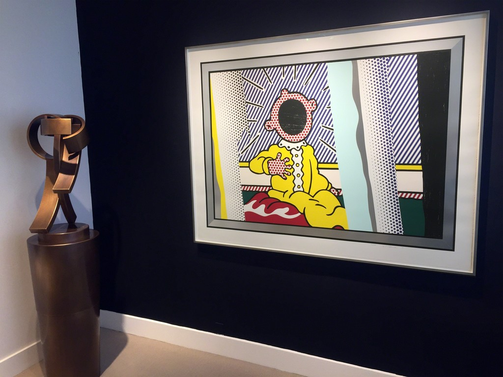 "Roy Lichtenstein ""Reflections on The Scream"" and Guy Dill ""Road to Tavarnelle"" sculpture"