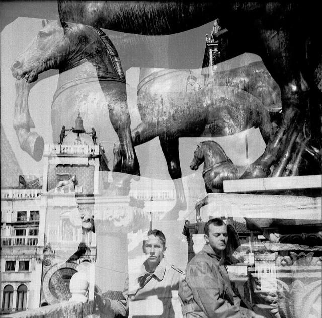 Robert Rauschenberg, 'Bob + Cy, Venice', 1952, Gelatin silver print, Robert Rauschenberg Foundation