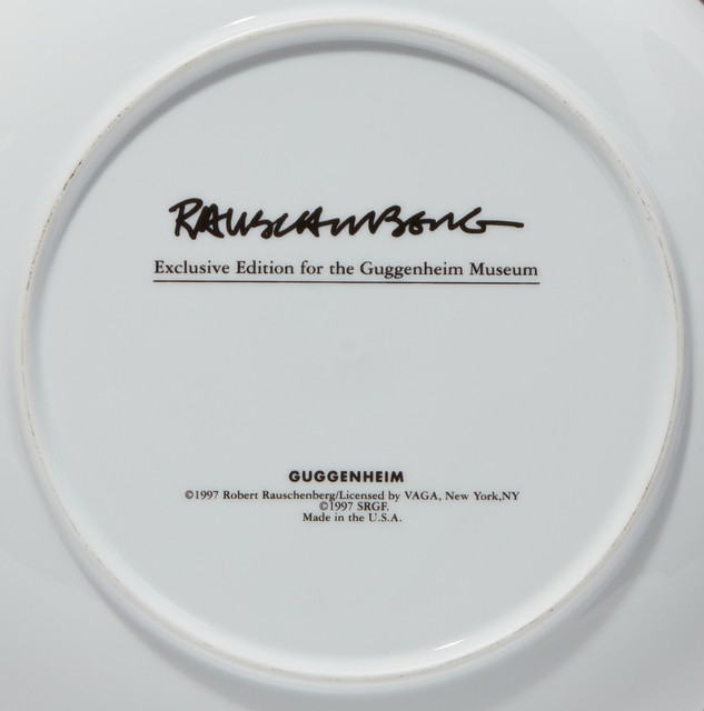 Robert Rauschenberg, 'Guggenheim Retrospective Plates', 1997, Design/Decorative Art, The complete set of six porcelain plates printed in colors, all contained in the original white cardboard boxes, Phillips