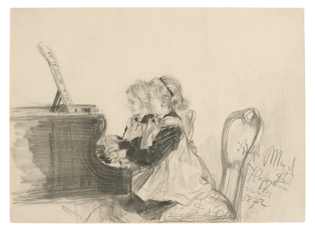 , 'Therese and Grete Herrmann at the Piano,' 1872, Daxer & Marschall