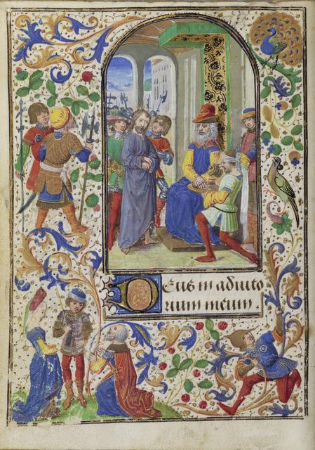Lievan van Lathem, 'Christ before Pilate', 1471, Tempera colors, gold leaf, gold paint, silver paint, and ink on parchment, J. Paul Getty Museum