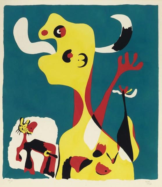 Joan Miró, 'Femme et chien devant la Lune', 1935, Print, Pochoir in colors on wove paper, Christie's