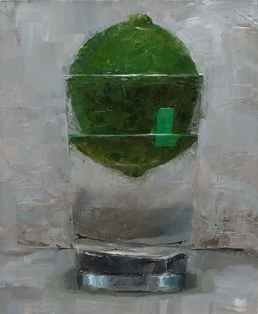 Tom Giesler, 'Floral 20: lime with label', 2020, Painting, Oil on panel, McVarish Gallery