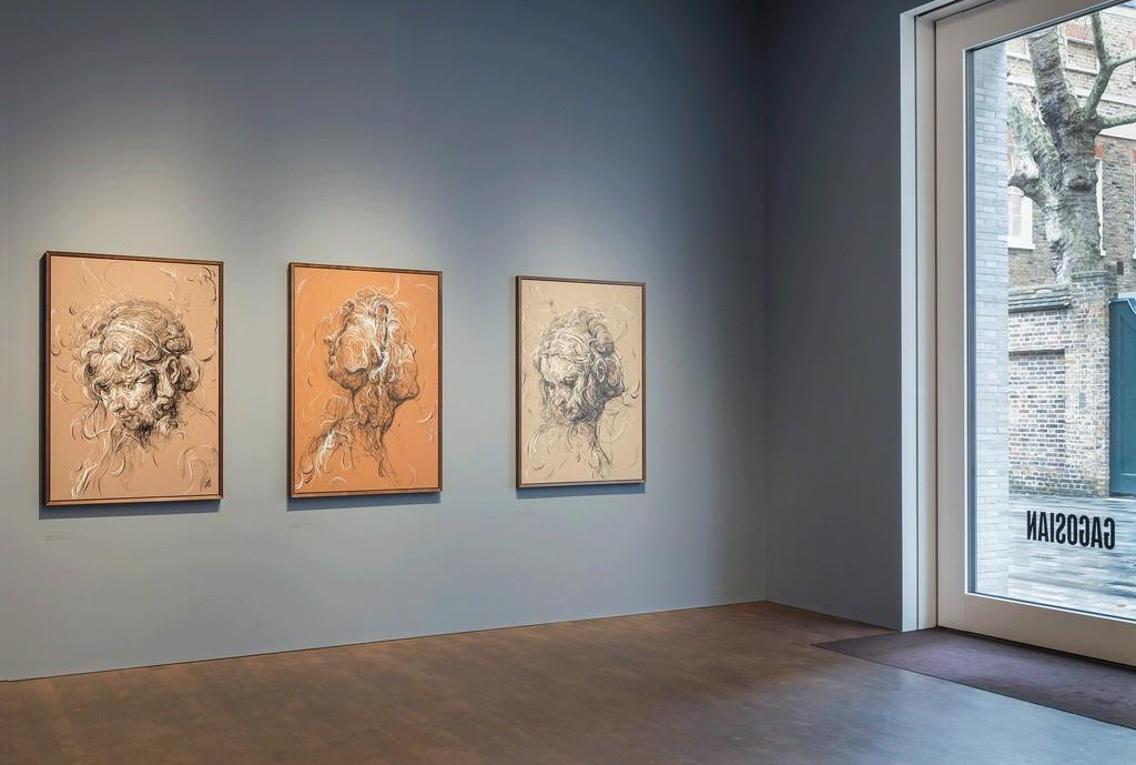 "Installation view of ""Glenn Brown: Come to Dust"" at Gagosian Grosvenor Hill, London. Artworks © Glenn Brown. Courtesy Gagosian. Photo by Lucy Dawkins."