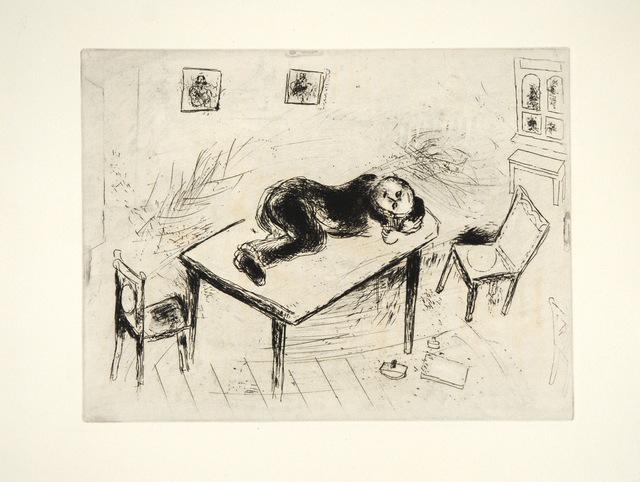 Marc Chagall, 'Tchitchikov Couchait au Bureau', 1948, Print, Etching, Goldmark Gallery