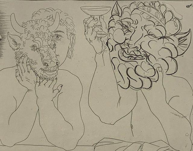 Pablo Picasso, 'Caisse À Remords: Jeune homme au masque de taurea, faune et profil de femme ( B.279)', 1943-printed in 1961, Print, Etching on Verge d'Auvergne Richard de Bas paper, Capsule Gallery Auction