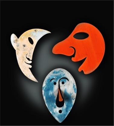 , ' Moon Mask; Red Smiling Mask; Blue Mask with Orange Nose,' ca. 1949, Opera Gallery