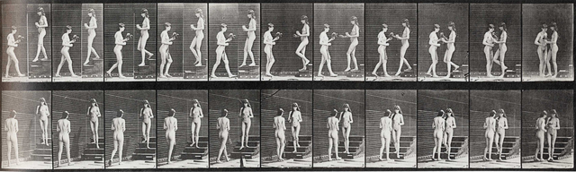 Eadweard Muybridge, 'Plate 448. Two models, 11 descending stairs with goblet meets 10 with bouquet.', 1887, Laurence Miller Gallery