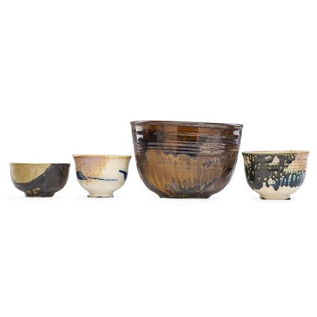 Toshiko Takaezu, 'Large bowl and three tea bowls, USA', Rago