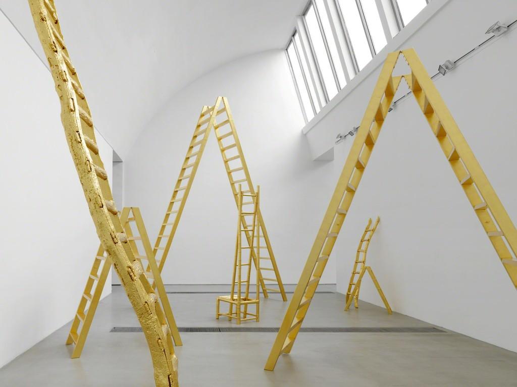 "Installation photo of artwork ""Golden Ladders"" from ""Yoko Ono: Golden Ladders"" Faurschou Foundation, Beijing (2015). Photo by Jonathan Leijonhufvud © Faurschou Foundation"