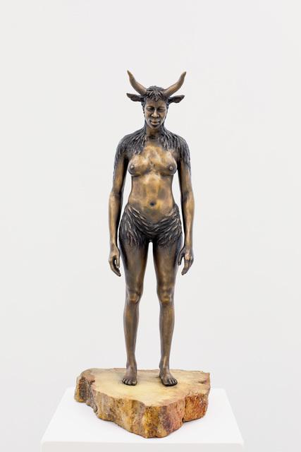 Nandipha Mntambo, 'Maquette for Minotaurus', 2015, Sculpture, Bronze and sandstone base, Andréhn-Schiptjenko