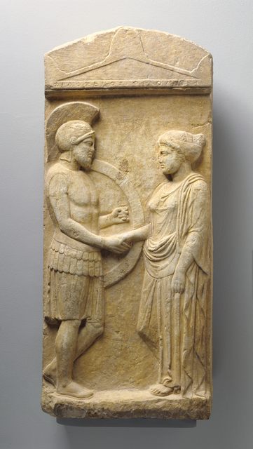 'Grave Stele of Philoxenos with his Wife, Philoumene', ca. 400 BCE, J. Paul Getty Museum
