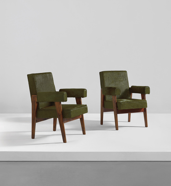 "Pierre Jeanneret, 'Pair of ""Advocate and Press"" armchairs, model no. LC/PJ-SI-41-A', circa 1955, Phillips"