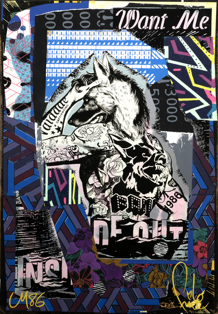 FAILE, 'Want Me 1986', 2018, Mixed Media, Silkscreen ink and acrylic on paper, Markowicz Fine Art