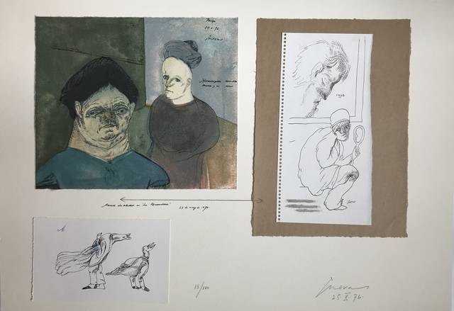 Jose Luis Cuevas, 'Pared de estudio en « La Renaudière »', 1976, Drawing, Collage or other Work on Paper, Three prints in colours mounted on paper, DIGARD AUCTION