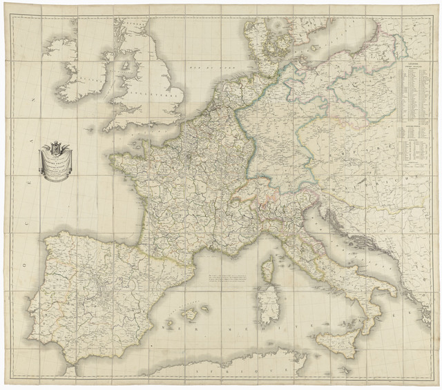 , 'Carte des routes de postes de l'Empire français (Map of the French Empire posts),' 1811, Château de Fontainebleau
