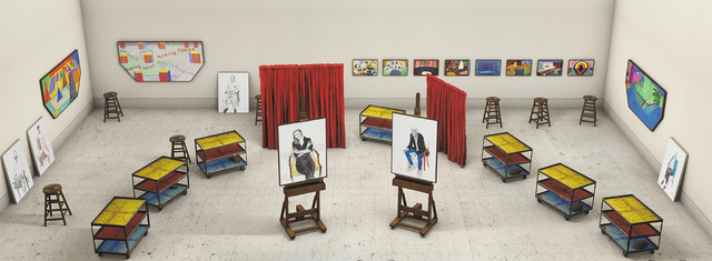 , 'Seven Trollies, Six and a Half Stools, Six Portraits, Eleven Paintings, and Two Curtains,' 2018, Annely Juda Fine Art