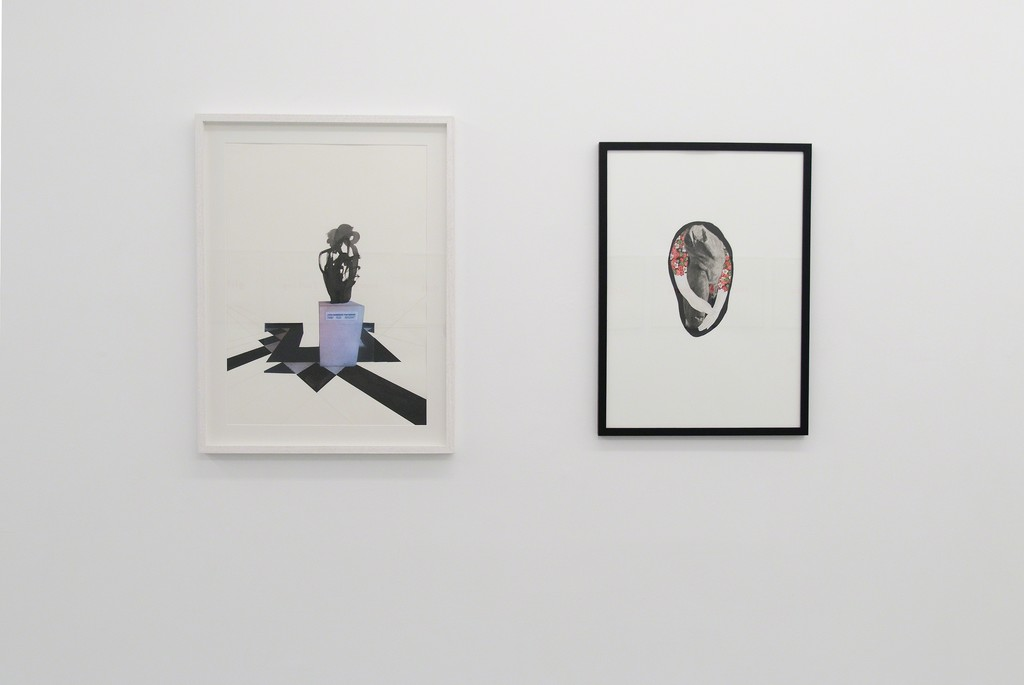 Sculpture, 2015, sculpture, collage, chinese ink, graphite on paper, 68 x 43 cm (83 x 63 cm framed) Bodypolitics IV (Torso), 2016, drawing, ink and collage, 72 x 52,5 cm