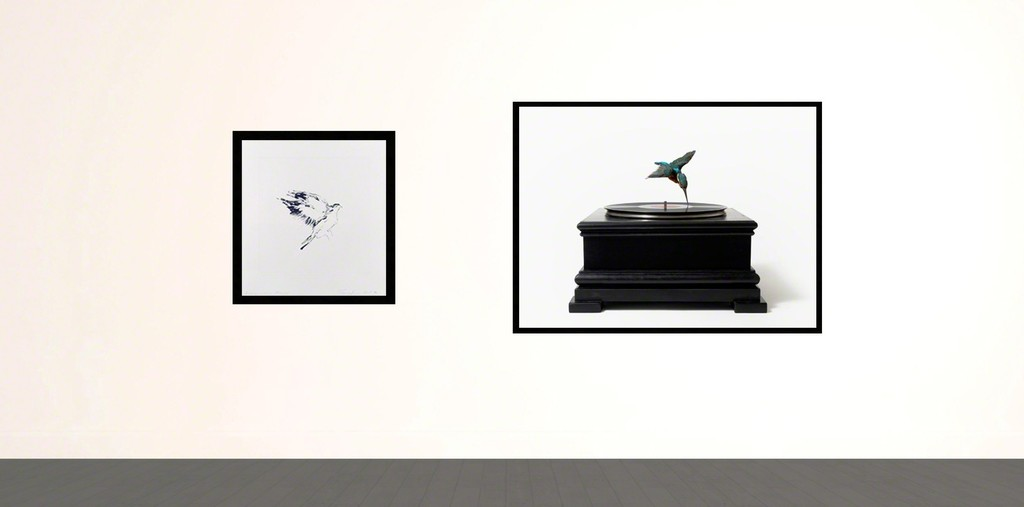 'Bird on a Wing After DB' by Tracey Emin and 'Bird on Record Player' by Nancy Fouts.
