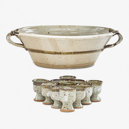 Punch bowl with eleven cups, USA