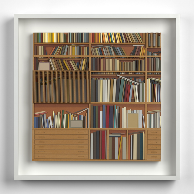 Lucy Williams, 'Library at Maison Louis Carré #4', 2017, Mixed Media, Paper, engineered wood, maple wood veneer and acrylic paint on birch ply panel, Berggruen Gallery