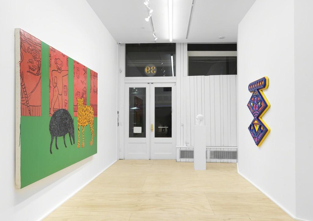 Installation view, Samaritans. Curated by Dan Nadel, Eva Presenhuber, New York, 2019 Courtesy the artists and Galerie Eva Presenhuber, Zurich / New York Photo: Matt Grubb