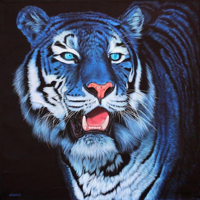 Helmut Koller, 'BLUE TIGER ON BLACK', 2012, Galerie Barbara von Stechow