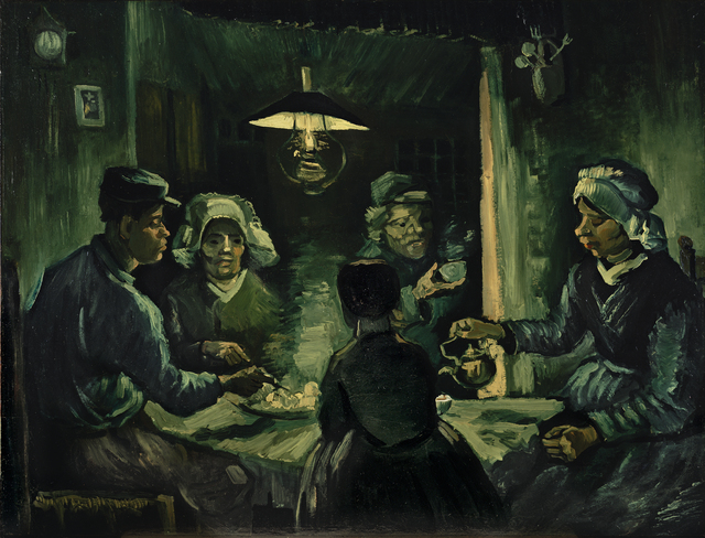 Vincent van Gogh, 'The potato eaters', 1885, Painting, Oil on canvas mounted on panel, Kröller-Müller Museum