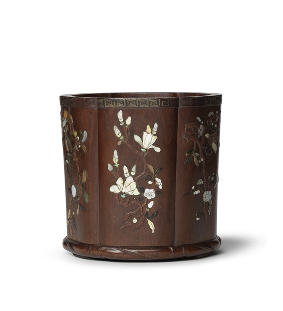 , 'Huanghuali brush pot with mother-­‐of-­‐pearl inlay,' 18th century, Liang Yi Museum