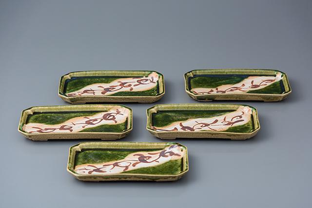 , 'Rectangular plate, oribe glaze (set of 5),' 2018, Pucker Gallery